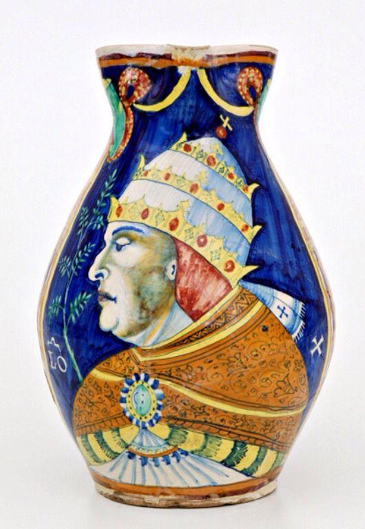 Cafaggiolo Great mug depicting Pope Leo X. Cafaggiolo 1515 c