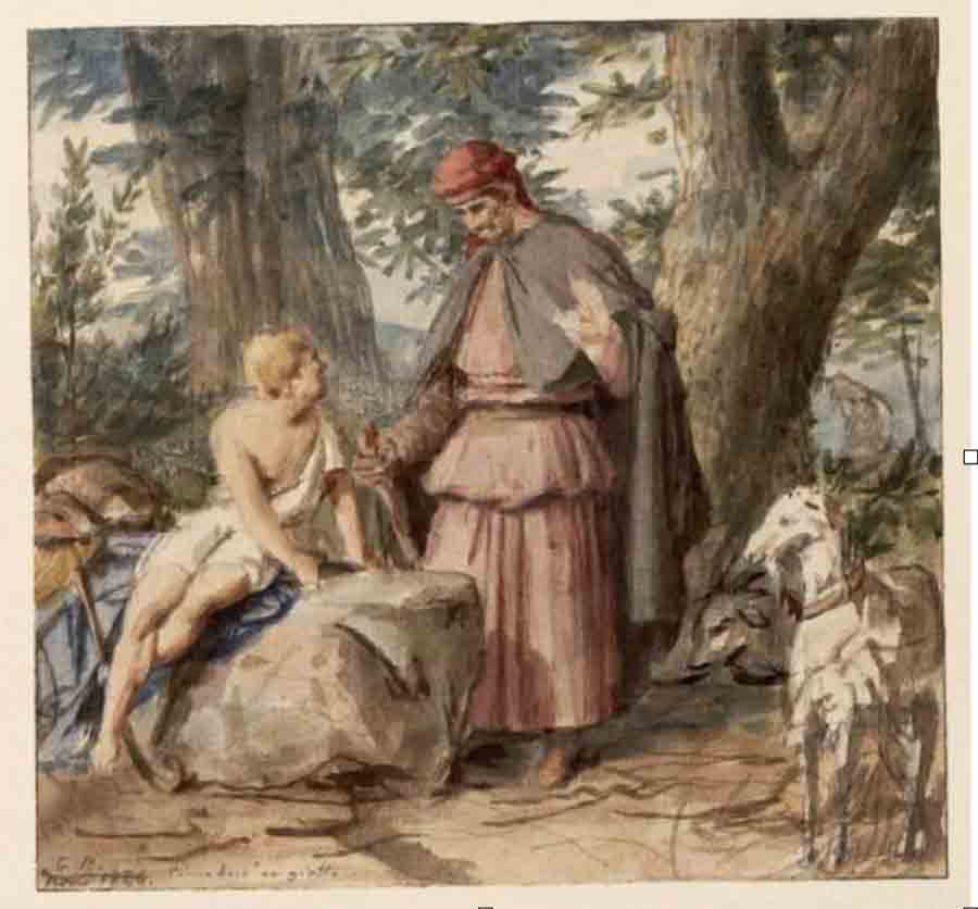 Bodinier, Guillaume (1795-1872) Cimabue et Giotto (1840) - Angers, Musée des Beaux-Arts