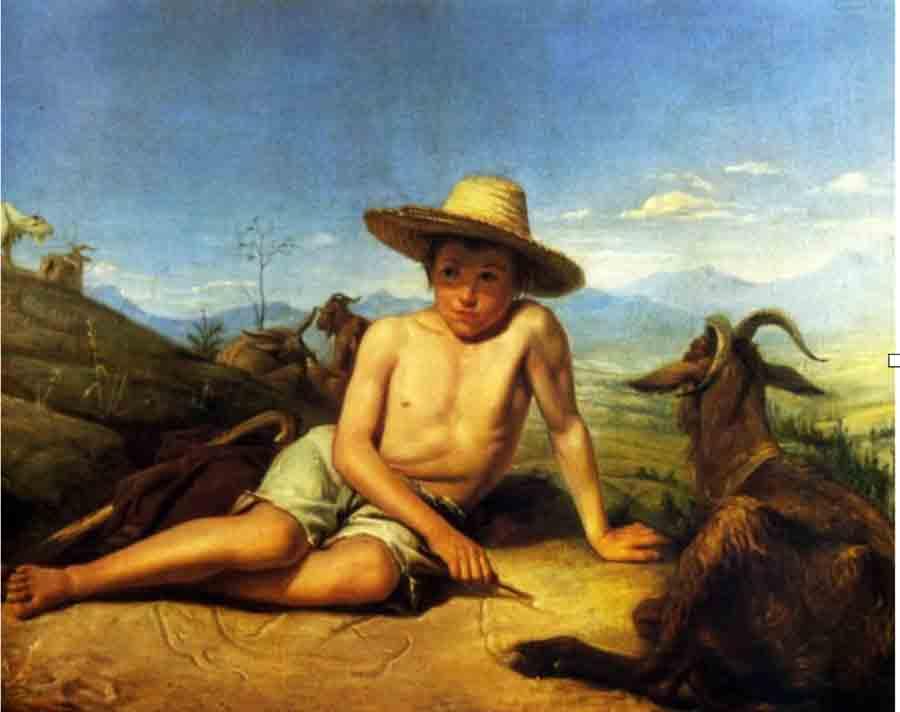 Bonnat, Léon-Joseph-Florentin (1833-1922) Giotto gardant les chèvres (1850) - Bayonne, Musée Bonnat