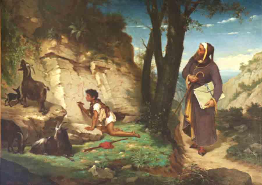 Narcisse Salières, Paul (1818-1908) Cimabue incontra Giotto (1876) - Carcassonne, Musée de Beaux-Arts