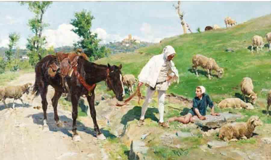 Sorbi, Raffaele (1844-1931) Giotto e Cimabue (1919) - Collezione privata