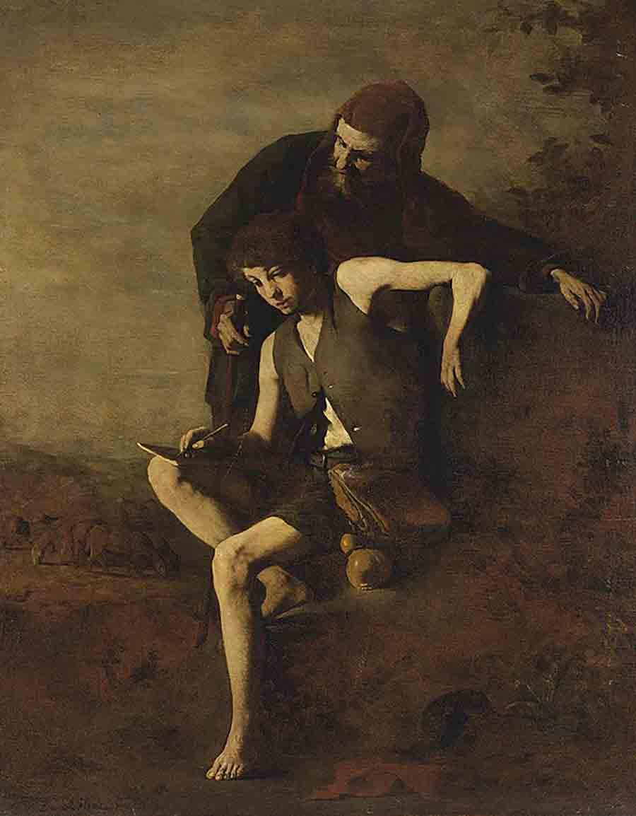 Théodule-Augustin Ribot (1823-1891), Cimabue apprenant à Giotto à dessiner – Collezione privata