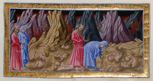 Dante in Cocìto, manoscritto Yates Thompson 36 della British Library di Londra, foglio 59 recto